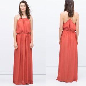 Zara  Strappy Orange Grecian Maxi Dress